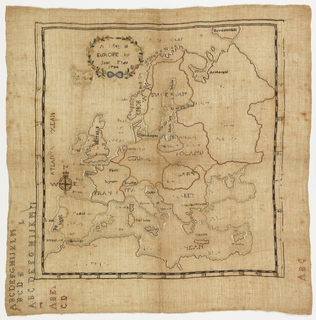 """Europe with names of countries and bodies of water in embroidery.  Upper corner reads """"A Map of Europe by Jane Flint 1784.""""  Lower margin has alphabet."""