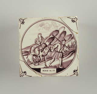 Square tile with decoration in roundel, in manganese purple, of the flight into Egypt; small floral motifs in spandrels.