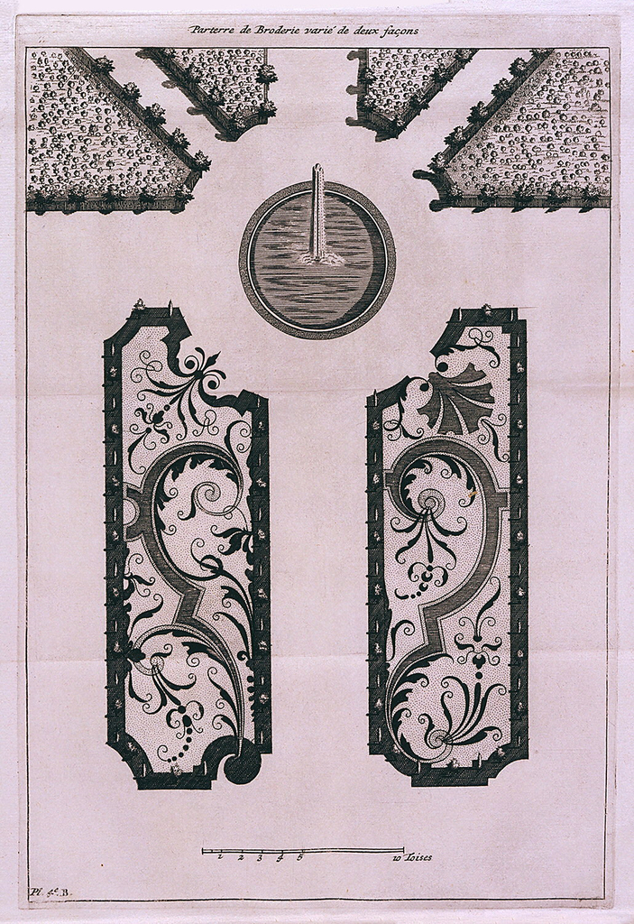 "Book includes d'Argenville's descriptions of ways to integrate nature and ornament by ordered arrangments of flower beds, parterres, or tree groves with fountains, reflecting pools, and cascades based upon the aesthetic doctrines of André Le Nôtre, a leading designer.  The book includes  plate 2 [?] B:   Description:  A parterre pattern, which looks like embroidery, accented by a single water jet in a circular pool.   Inscription:  at top center ""Parterre de Compartment"", at bottom left corner:  ""Pl. 2 [?] B"".  Scale:  at bottom center in toises.   plate L [?]: Description:  A fold-out page with five images.  1) left:  plan of a garden with tree-lined walkways alongside a central avenue of fountains with a central fountain at the end; 2) top center:  elevation and plan of a fountain with fifteen water jets and statues; 3) bottom left center:  fountain with cetral water jet and pool on terrace with water flowing into lower basin ornamented with spouting dolphins and two water jets.  Trees in backgrund; 4) bottom right center:  fountain with nude female figure standing in basin.  Water jets in basin cause water to cascade to pool below.  Trees in background; 5) right:  garden plan with inclining walkways flanking long, stepped pool of water with jets leading up to a pool with five water jets Inscriptions: 1) above left image:  fig. 1.er Cascade en rampe douce; 2)below left image:  Pl. L [?] Page 206 et 207; 3) above top center image:  Cascade en Bufet a la teste d'une piece d'eau; 4) inside top center image at top left:  fig. 3e.; 5) inside top center image at top right:  Elevation; 6) inside top center image at right center: Plan; 6) below bottom left center image:  fig. 4e. Cascade sur une terasse; 7) below bottom right center image:  Cascade dans une niche de charmille; 8) inside bottom right center image at left corner: fig. 5e.; 9) above right image:  Cascade par chutes déscalier Scales:  at bottom right of left image:  1-12 Toises; at bottom right of right image:  1-12 Toises"