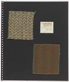 Two textile samples, paper on perforated paper. At top left, woven textile showing chevron pattern in green on pink with green, yellow and blue accents. Top right, graph paper handwritten with weaving sequence: Meigs Mountain / vorhaus. At bottom, plain weave textile in green and rust showing diagonal pattern.