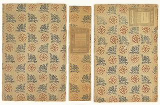 Cover/case for bobbin lace sample book, covered with paper printed in brown and blue in conventionalized design. In six pieces.