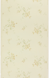 Floral sprigs attached to foliate scrolls, alternating larger and smaller. Printed in green, white mica, and metallic gold on pale green ground.