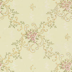 Foliate scrolls and vines form a diamond diaper or grid pattern. Moire-like elements set within each diamond.