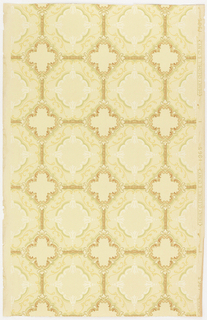 Circular design printed in octagonal framework. A quatrefoil motif is over the junction. Printed in tan, green and white mica on an off-white ground.