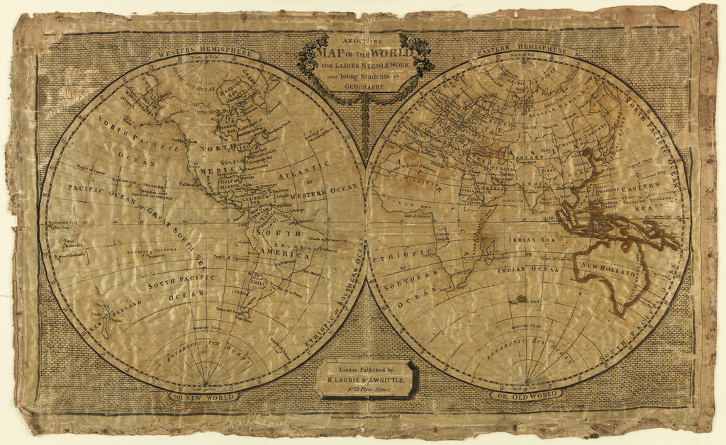 A map sampler of the world showing the two hemispheres, labeled Western Hemisphere or New World and Eastern Hemisphere or Old World.