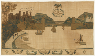 """Horizontal panel showing Bridge, five boats on river, several buildings on the shore; eagle in the sky with wreath """"A View of Conway Bridge 1836""""; on the lower border are two harps, two sheep and """"Elizabeth Parry St. Asaph."""""""