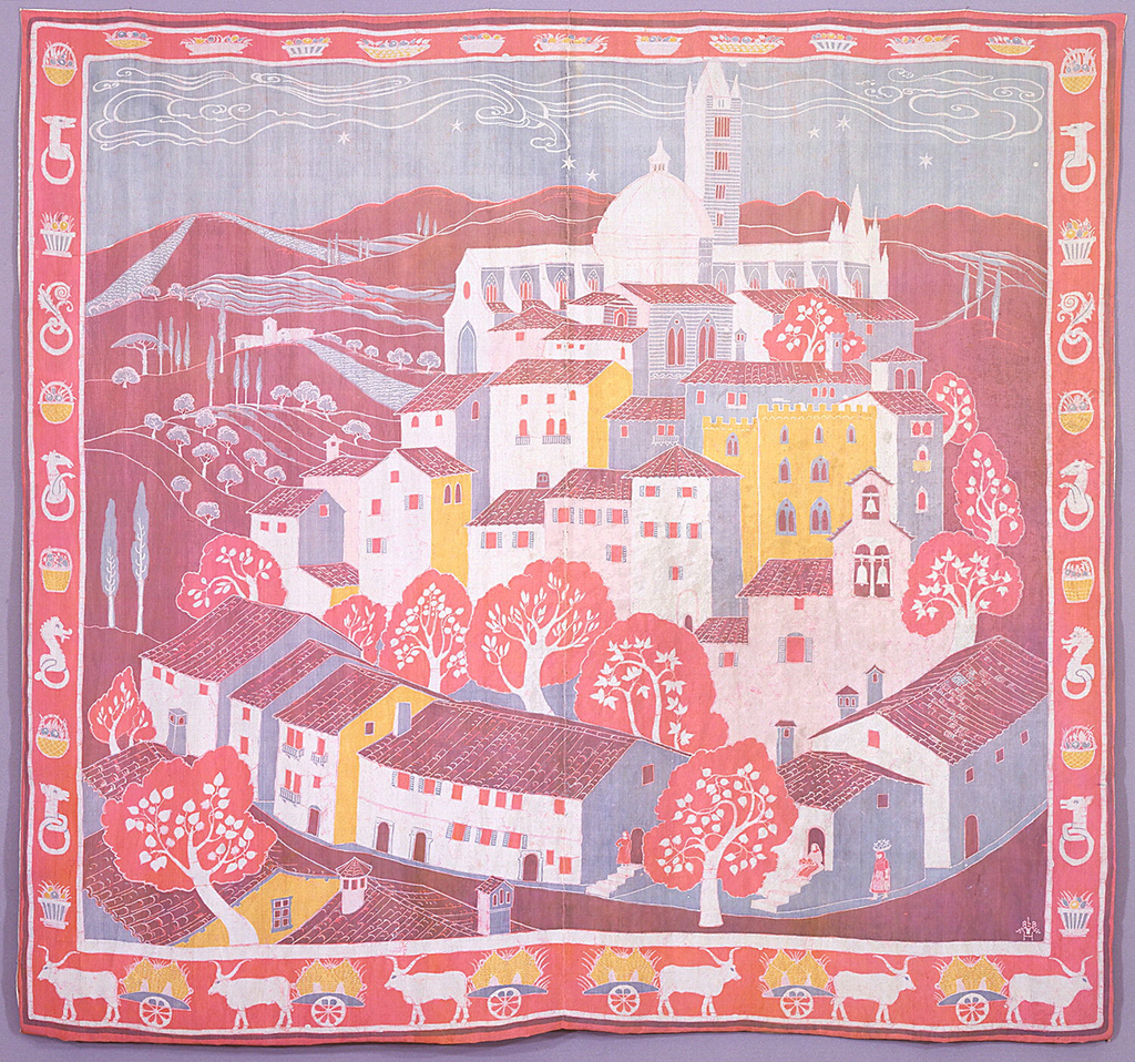 View of Sienna, Italy, and surrounding countryside. The cathedral and bell tower in the background, a portion of the Campo in the center and small buildings and trees in the foreground, in gray, pink, salmon, and yellow. Border in white, gray and yellow on a red ground: at top, baskets of fruit; left and right sides, hitching posts for Palio alternate with fruit baskets; at bottom, bullocks drawing carts.
