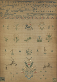 Very fine cross stitch on linen showing alphabets, a verse, spot motifs, a buck and doe, and a vase of flowers.