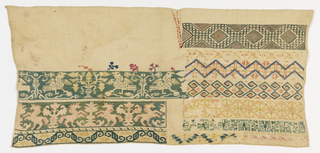 Unfinished sampler embroidered in polychrome silks, with eleven bands of pattern: confronted horses, addorsed birds, and geometric borders.