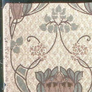 Art nouveau design; rows of large-scale flowers, connected by foliage. Printed in brown and green on patterned tan ground.