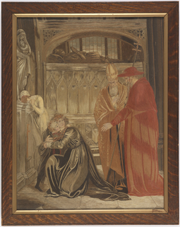 Kneeling figure of a woman clutching a child with a cardinal and a bishop at the right and a weeping woman at the left. The scene is the interior of a church, with a tomb of a knight in the background.