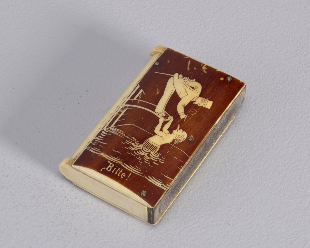 "Rectangular, in book form, featuring incised decoration with brown wash of a gentleman in Top hat standing on diving board requesting a light from a swimmer, who hangs from board's edge while in water below, inscribed ""Bitte!"" at bottom. Reverse features same gentleman, having received his light, as he is flipped into air after swimmer has released board's edge, inscribed below ""Danke!"". Two lids at top and bottom, hinged on metal pins. Striker on flat side."