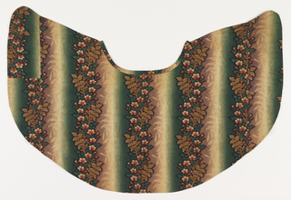 Short caplet of plain weave cotton printed by engraved roller showing vertical stripes in gradient  yellow, green and brown with stripes of flowers and leaves in brown, green and red.
