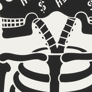 Two-headed skeleton in black with Heroin and Real Estate printed on heads