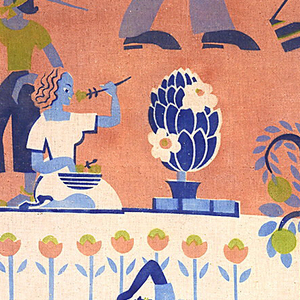 Printed textile with a man mowing the lawn, a woman gardening, and a woman sunbathing, all stylized as in Egyptian wall painting. Printed in dark blue, light blue, chartreuse and light brown on white.