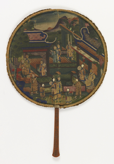 Handscreen with round leaf and carved wood handle. Elaborate painted scene of figures in an architectural setting, clothing is applied bits of silk.
