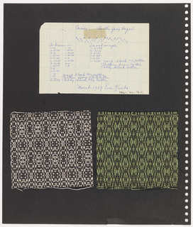 Two textile samples, one piece of graph paper on perforated paper. At top, graph paper with handwritten illustration of  weaving sequence; text at top: Cameo, Bertha Gray Hayes. At bottom left, plain weave textile with black and white pattern. Bottom right, plain weave textile showing black and green pattern.