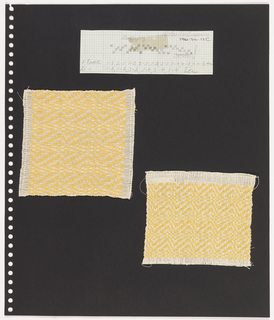 Two textile samples, graph paper on perforated paper. At top left, graph paper with handwritten illustration of  weaving sequence; written on top: Berta Har... At bottom, two plain weave textile samples with yellow and cream pattern in two scales.