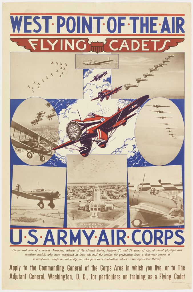 """A heading in blue reads """"WEST POINT OF THE AIR"""". Underneath the words """"FLYING CADETS"""" in white enclosed in red wings is seen. At the center is a red plane with two more following. Overlapping the flying plane is a mixture of planes in flying formation, landing, and others on base. At the bottom of the poster there is information regarding how to enlist in the US Army Corps."""