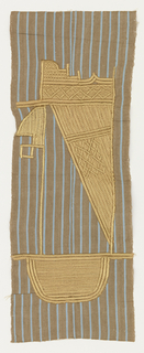 Narrow-woven light-brown cotton with light-blue stripes, embroidered in a highly abstract pattern in gold-colored rayon thread.