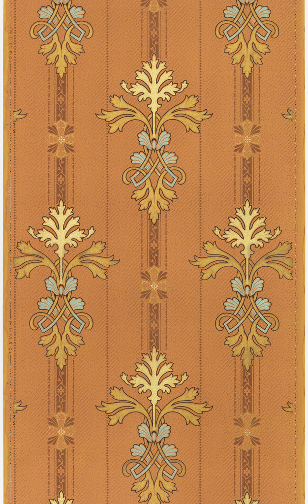 Foliate stripe. Stylized foliate medallion on stripe. Medallions alternate with small floral motif. Printed in metallic green and gold on copper-color ground.
