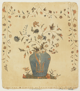 Various shapes such as flowers, a bow, and a vase have been cut from painted and dyed Indian cotton cloth and sewn onto a linen foundation in a decorative manner to create a picture of a vase of flowers on a mound of earth.
