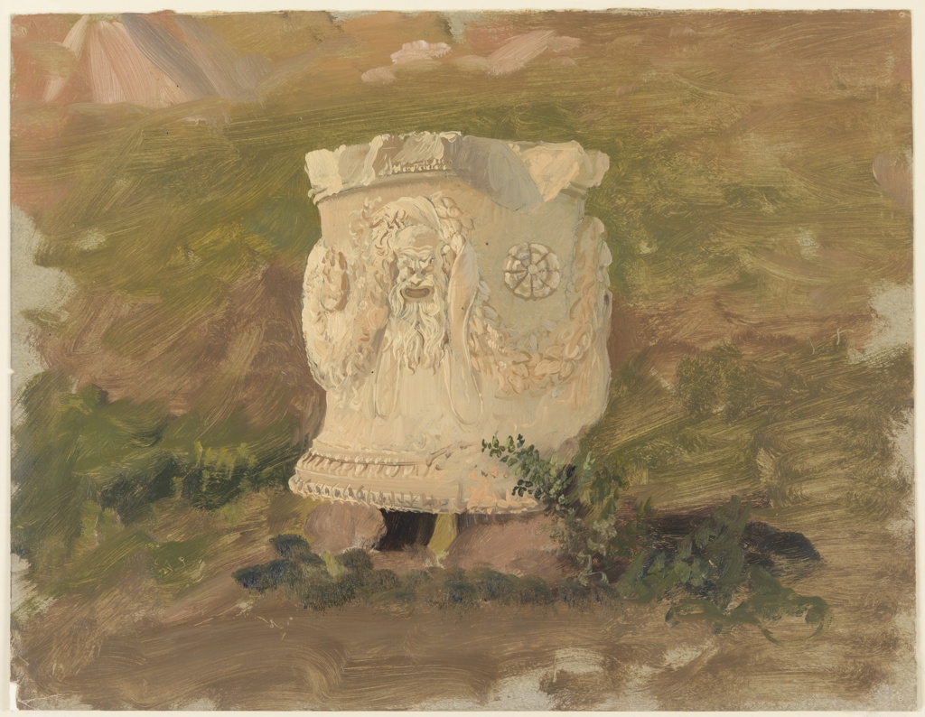 Drawing, Athens, sculpture in Dionysus theatre, April 1869