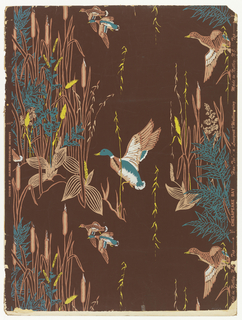Among clusters of marsh reeds, several wild ducks flutter. In white, blue, yellow and tan on dark brown ground.