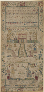Long form depicting a house with a path leading up to it.  At the base, a lady and gentleman with a dog.  Alphabets, numerals, floral border.