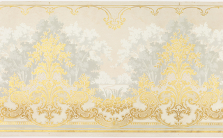 Overall embossed mica.  Foreground of bouquets of flowers connected by floral swags, scrolls, and beading at the bottom.  Foreground color of metallic gold.  Landscape background of trees with a pond and cat tails.  Background color of white and shades of gray.