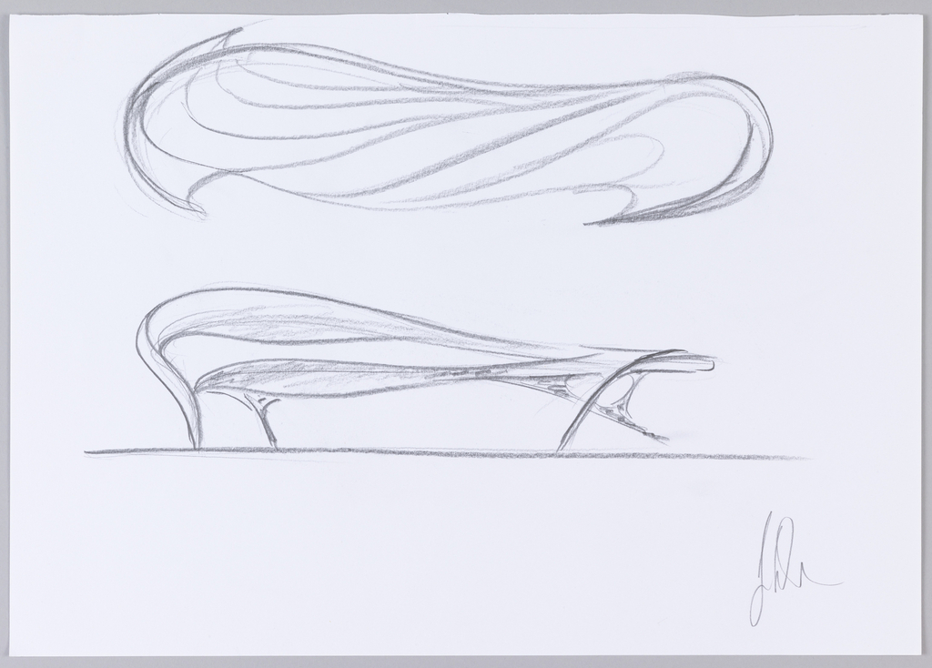 Sketch of Enignum Free Form double-seater chair in plan view at top and front view at bottom.