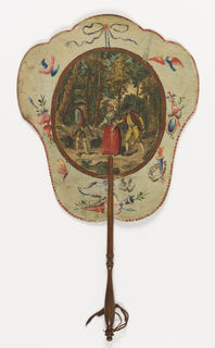 "Handscreen with a paper leaf and turned wood handle. Obverse: oval medallion with a hand-colored engraving of a woman flanked by a hunter and a woodsman in the woods, surrounded by hand-painted birds, butterflies, etc. Reverse: dialogue from the comic opera ""Les solitaires de Normandie."""