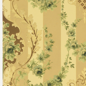 Floral bouquet set within a foliate medallion. The medallions are connected by green floral swags. The background consists of a bold stripe pattern, printed in tan on beige ground.