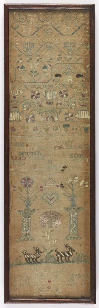 "Long vertical sampler worked in colored silks on a linen ground. The upper register has stylized floral vines. In the center, ""Elizabeth Thurston  Look well to what you take in hand for larning is better then house or land When land is gone and money is spent then larning is most excellent.  Aged 15 August the 9 1703"". In the lower register are two columns holding flower urns with a heart and crown in between, two zebras, and the initials JH and ET."