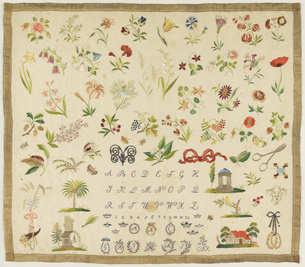 Scattered floral motifs with alphabet at bottom and sewing tools at right.