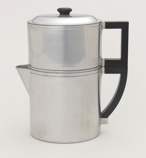 Aluminum form, oval in profile, composed of spouted coffeepot (a) with black, squared D-shaped handle, surmounted by coffee-brewing chamber (b) with rectangular black handle; oval lid (c) with black knob on top center. Filter (d) inside.