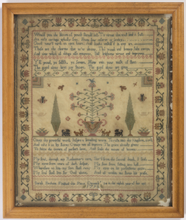 Finely worked in colored silks on a natural ground, with verses, flowering trees, animals, and a stylized running vine border.