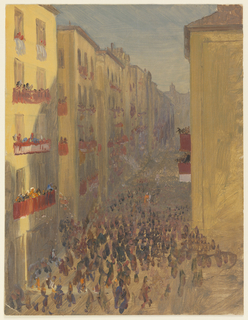 Oblique view into a street from above. Windows and balconies are decorated with cloths and banners. Crowds of people fill the windows and the street below. Many of the figures are masked.