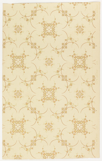 Repeating pattern of quatrefoil motif with squarish fill of floral vines. AS square boss fills the void between quatrefoils. Printed in terra cotta and tan on lighter tan ground.