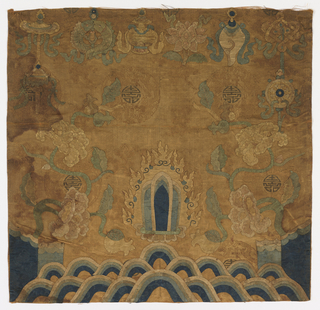 Square panel of gold tan fine silk damask with Buddhist decorative arrangement in silk damasks in blues, cream, shades of pink, tan, green: waves at bottom, mountain with flowering tree on either side, holy object in flame halo in center, Eight objects of Happy Augury accross top. Ground has big dragon medallions with mongram brocaded in silver in center of each, scattered cloud-bands. Faded from some shade of red to deep golden tan.