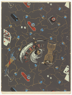 Design of roulette wheel and cage of dice surrounded by scattered gambling effects, all in a network of champagne corks and wires. Printed in cream, red, blue and brown on gray ground.