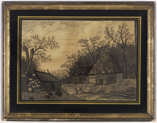 Winter scene of a rural building with two peasants hauling wood, embroidered in black on a white ground.