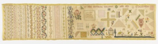 Long horizontal sampler with vertical stripes of floral pattern, spot motifs, alphabet and numerals.  Bound with yellow silk ribbon.