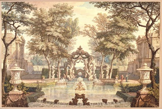 Drawing, Garden with Classical Buildings and a Fountain