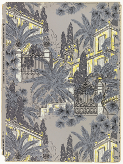 Bright yellow and white buildings peek out from a pattern of iron gates, feathery palms and foliage, all in shades of green.