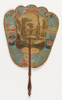 "Handscreen with a paper leaf and turned wood handle. Obverse: engraved image of two hunters beside a cottage in the woods.  Reverse, bits of dialogue from the play ""Les deux chasseurs et la laitiere."""
