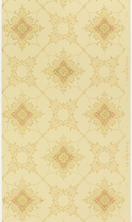 Nearly round medallions containing a center fill of quatrefoil, linked to other medallions by bead swags and floral motif. Printed in shades of tan and red on light tan ground.