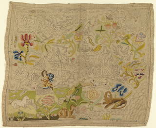 Woven linen canvas with design drawing showing animals and figures in landscape. Partially embroidered with silk.