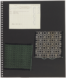 Two textile samples, one piece of graph paper on perforated paper. At top left, graph paper with handwritten illustration of  weaving sequence; printed at top: Chintz. At bottom left, plain weave textile with black and green showing diamond pattern with horizontal orientation.  At right, plain weave textile showing black and white checkerboard pattern.