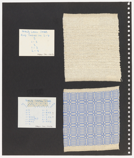 Two textile samples, two pieces paper on perforated paper. At top left, paper handwritten with weaving sequence: Auld Lang Syne. At top right, plain weave textile in cream with horizontal stripes. At bottom left, graph paper with handwritten illustration of  weaving sequence; written on top: Auld Lang Syne. Bottom right, plain weave textile sample with blue and cream pattern of grid with quatrefoil at centre.